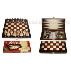 Шахматы деревянные 3 в 1 - шахматы, шашки, нарды Wegiel mini