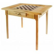 Стол шахматный светлый с фигурами и  ящиком (простые ножки) 80*60см