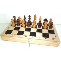 Шахматы обиходные лакированные с доской (без подклейки)