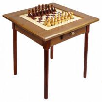Стол шахматный темный с фигурами и ящиком (простые ножки)