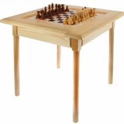 Стол шахматный светлый с фигурами (простые ножки)
