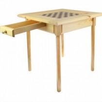 Стол шахматный светлый с фигурами и  ящиком (простые ножки)