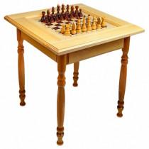 Стол шахматный светлый без фигур (резные ножки)