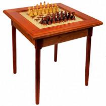 Стол шахматный темный с фигурами (простые ножки)