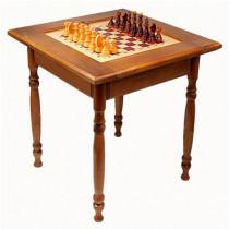 Стол шахматный темный с фигурами (резные ножки)