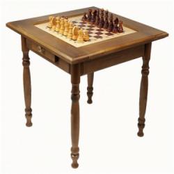 Стол шахматный темный с фигурами и ящиком (резные ножки)