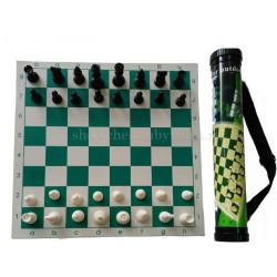 Шахматы пластиковые с доской в тубусе 42 см