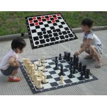 Напольные мини шахматы и шашки 2 в 1 (с доской )